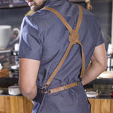 leather straps denim apron, barista apron, chef apron for cooking, gardening, crafting, tattoo artists, bartenders, baristas, chefs, hair stylists, etc. Personalized gifts for a birthday, wedding, Mother's Day, Father's day ,anniversary or housewarming. Embriodered aprons, Barista apron, BBQ apron, Grill apron, Barber apron, Chef apron