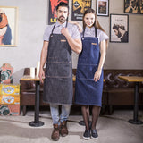 HIGH QUALITY EXTRA LONG 100% DENIM BIB APRON for Chefs, Bartenders, Baristas .