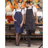 U344S -  Denim Bib Apron Black or Blue