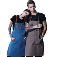 ONTARIO SKY Canvas & Leather Barista Apron Blue | Denim Apron | Chef Apron | U357