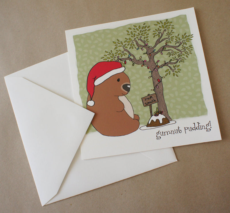 Christmas card, square, Gumnut Pudding