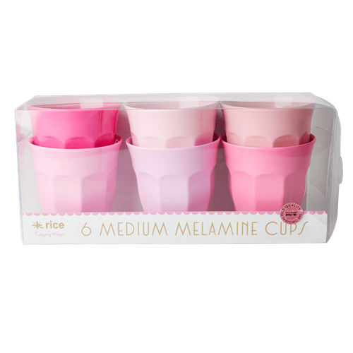 Set of 6 Medium Cups - 50 Shades of Pink