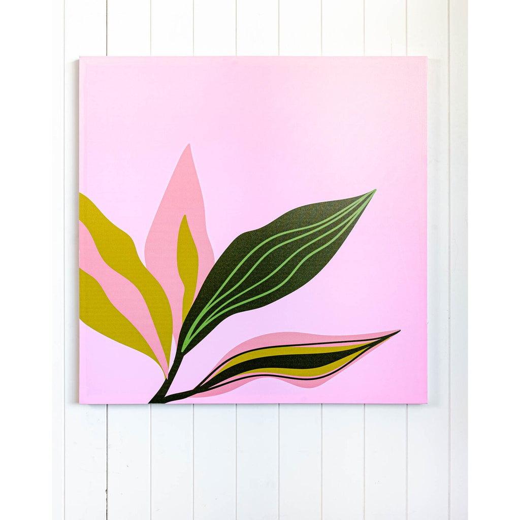Pink Leaf Stem Canvas