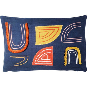 Saree Arc Cushion - Slate & Rust
