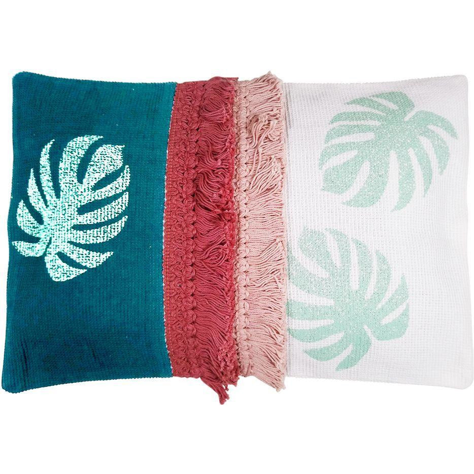 Oasis Monstera Cushion - Teal Blush