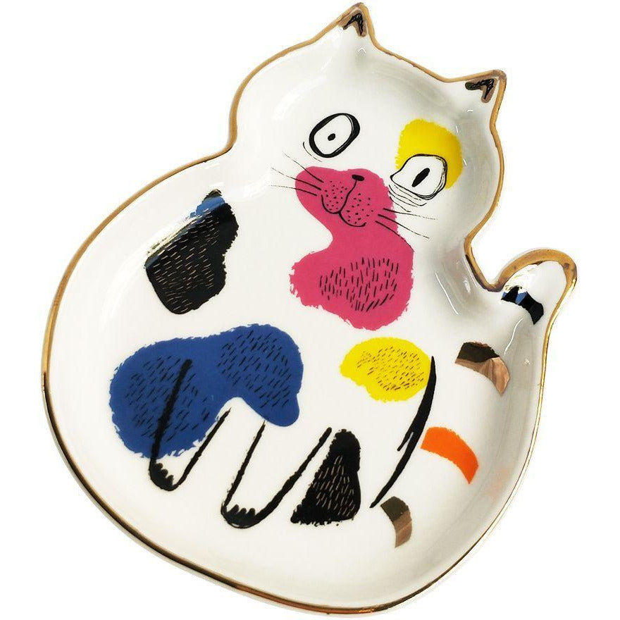 Abstract Cat Sitting Trinket Dish - Multic