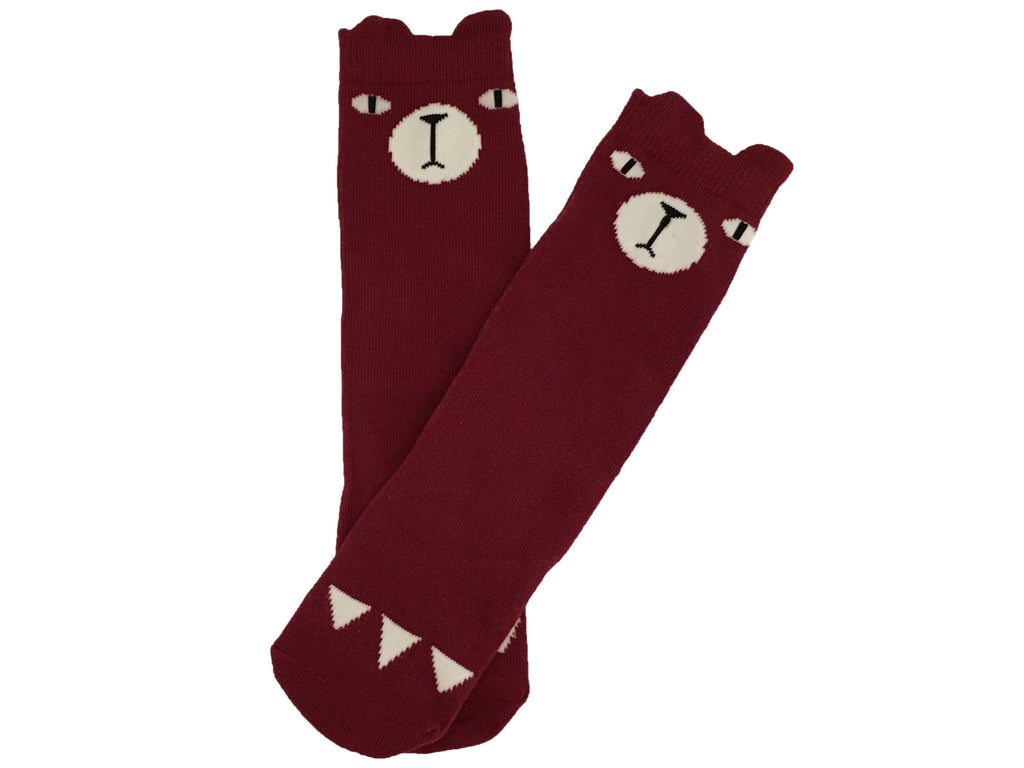 SALE Bear Hug kneehigh socks - red