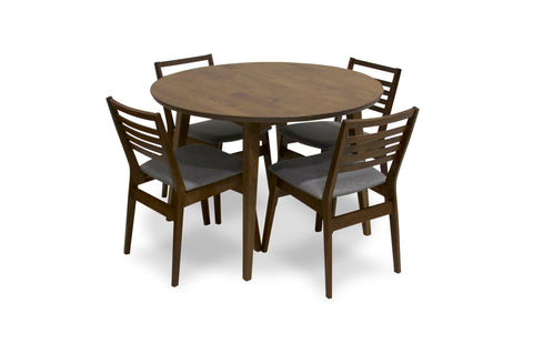 Aliana Dining set with 4 Reggie Gray Chairs (Walnut)