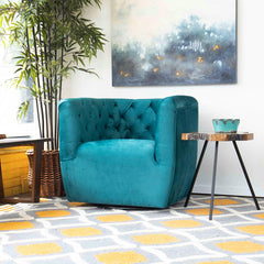 Lotte Swivel Chair (Turquoise Velvet)