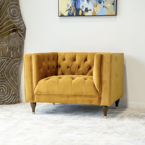 Houston Modern Lounge Chair (Burnt Orange - Velvet)