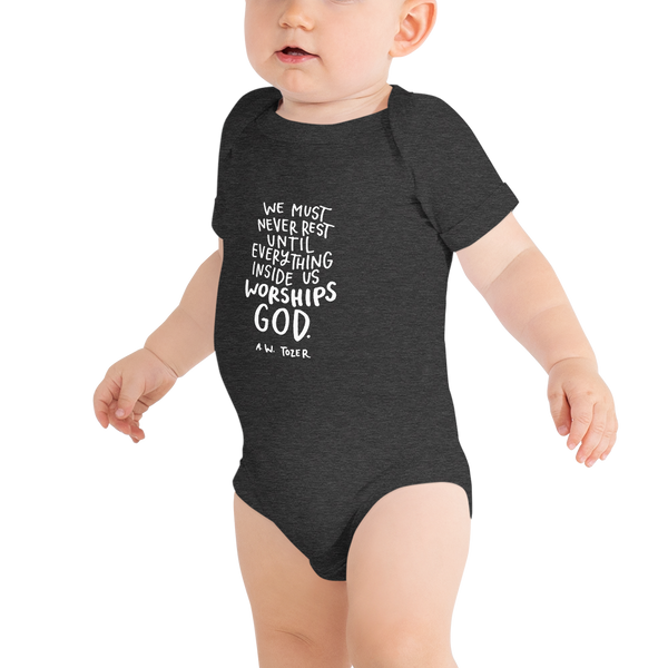 Baby Tozer Worship Quote Onesie
