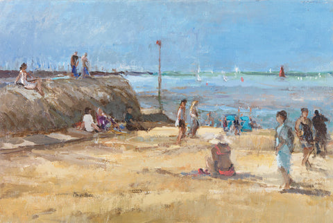 Morning on the Beach, La Rochelle. - from the 'Oils' collection by Jane Corsellis