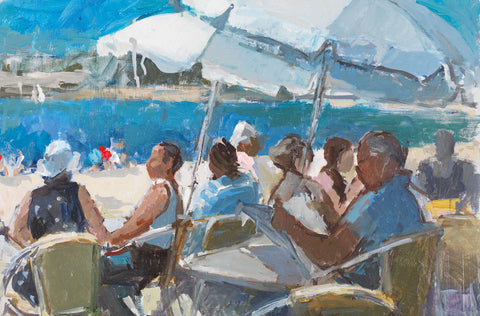 Sunday Papers at the Café, La Rochelle. - from the 'Oils' collection by Jane Corsellis