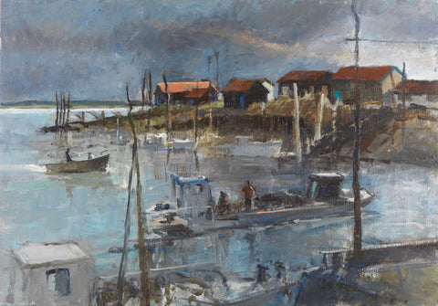 Oyster Boats at La Tremblade. - from the 'Oils' collection by Jane Corsellis