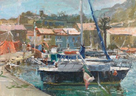 Boats at Giglio Harbour. - from the 'Oils' collection by Jane Corsellis