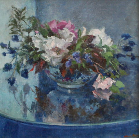 Jane Corsellis Peonies and Roses Oil Painting