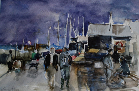Jane Corsellis Fishermen at Southwold watercolour painting