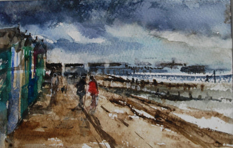 Jane Corsellis The Beach Huts at Southwold watercolour painting