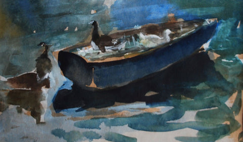 Jane Corsellis Birds of the River on the Boat, Strand on the Green watercolour painting