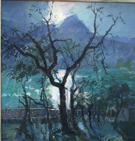 Olive Trees at Lake Garda, Evening