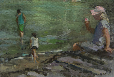 Ice cream on the sea wall. - from the 'Oils' collection by Jane Corsellis