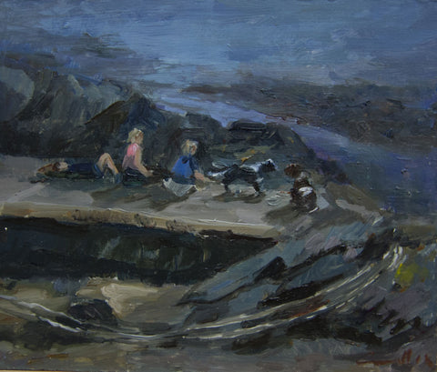 Picnic on the Rocks. - from the 'Oils' collection by Jane Corsellis