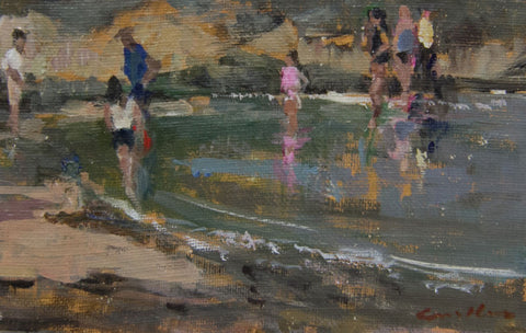 Figures in the shallows. - from the 'Oils' collection by Jane Corsellis