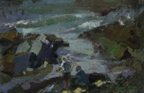 Catching crabs. - from the 'Oils' collection by Jane Corsellis