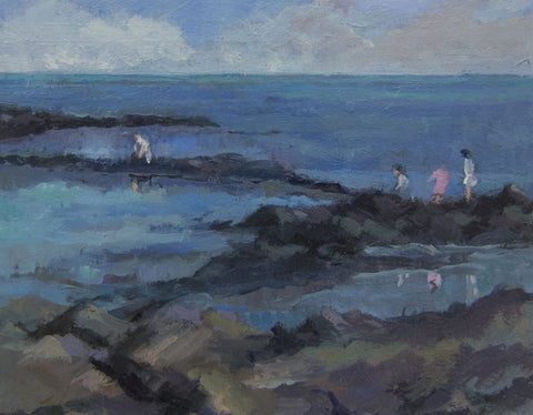 Children on the Rocks. - from the 'Oils' collection by Jane Corsellis