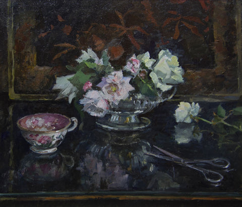 The Silver Rose Bowl - from the 'Oils' collection by Jane Corsellis  - 1