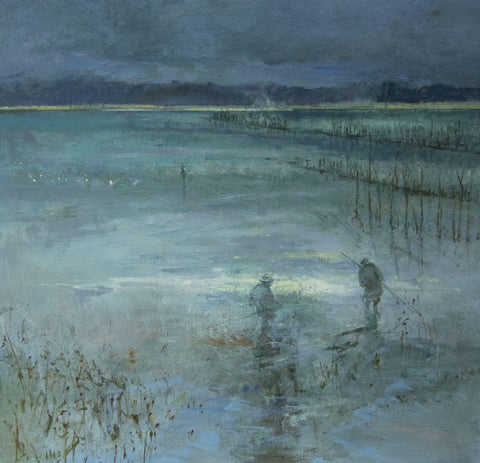 Oyster Beds Evening at Ronce les Bains. - from the 'Oils' collection by Jane Corsellis  - 1
