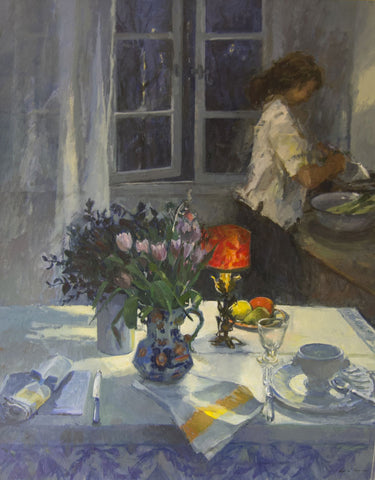 The Evening Table - from the 'Oils' collection by Jane Corsellis  - 1