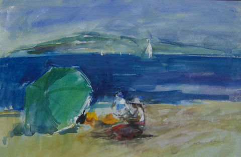 The Beach at St Maxime. - from the 'Watercolours' collection by Jane Corsellis