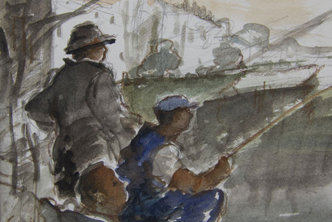 Fishing by the Bell and Crown, Strand on the Green. - from the 'Drawings & Sketches' collection by Jane Corsellis
