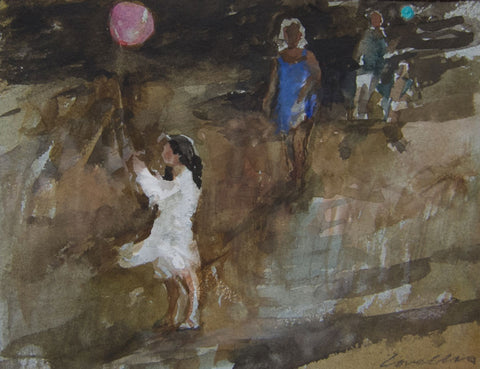 Birthday Balloons on the Beach - from the 'Watercolours' collection by Jane Corsellis