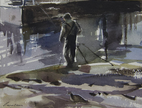 Fishing on the River Bank. - from the 'Watercolours' collection by Jane Corsellis