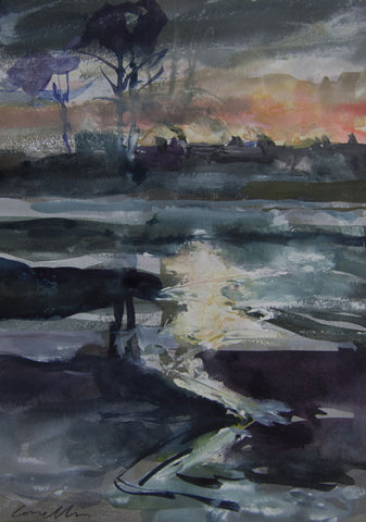 Evening River Light, Strand on the Green. - from the 'Watercolours' collection by Jane Corsellis