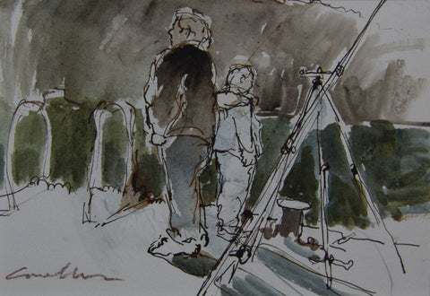 Father and Son, Fishing on the Thames. - from the 'Drawings & Sketches' collection by Jane Corsellis