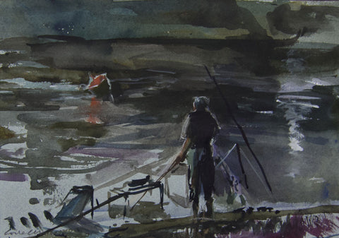 End of the Day's fishing. - from the 'Watercolours' collection by Jane Corsellis