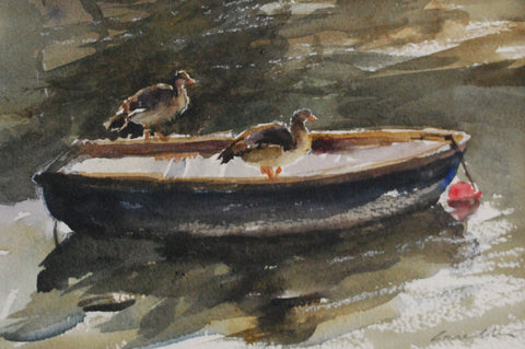Egyptian Geese on the Boat from the 'Watercolour' collection by Jane Corsellis