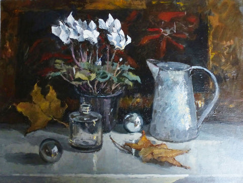 Autumn Leaves and Silver - from the 'Oils' collection by Jane Corsellis