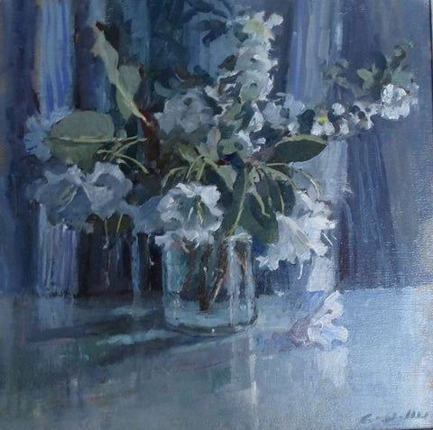 White Azaleas - from the 'Oils' collection by Jane Corsellis