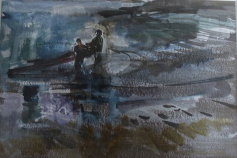 Surfers, Wales. - from the 'Watercolours' collection by Jane Corsellis