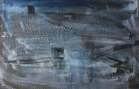 Fisherman pulling in his nets. - from the 'Watercolours' collection by Jane Corsellis