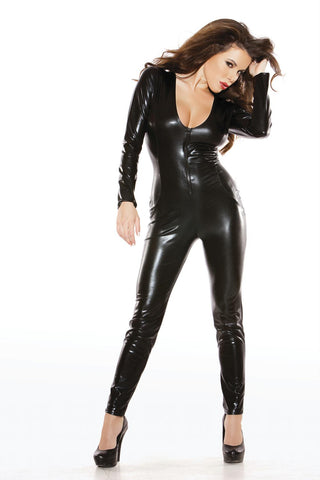 90% Polyester 10% Elastan Catsuit One Size Black
