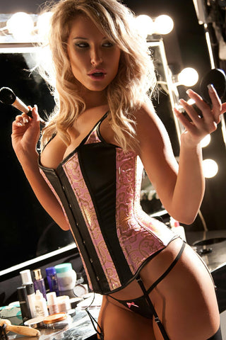 fabric:100% polyester 100% genuine leather Corset