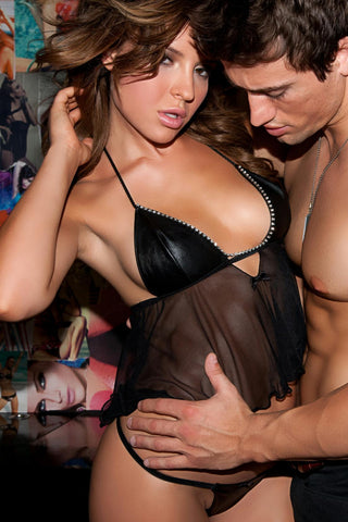 Mesh:90% Polyamide 10% Spandex 100% Genuine Leather Babydoll O-s Black