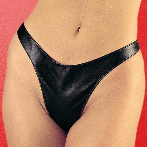 100% Genuine Leather Lycra:12%spandex 88%polyester Thong O-s Black
