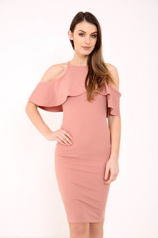 Frill Cold Shoulder Midi Bodycon Dress-Rose Gold