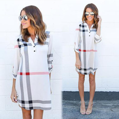 Absolutely Fabulous Plaid V-Neck Vintage Dress